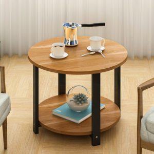 Bàn cạnh sofa kết hợp kệ trang trí màu gỗ IMT 37-11