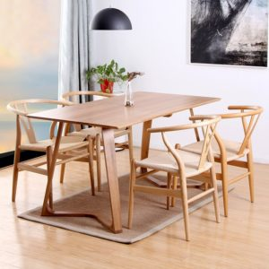 Bàn ghế ăn Wishbone: Bao gồm 1 bàn Twist + 4 ghế