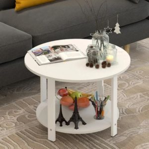 Kệ cạnh sofa kết hợp kệ trang trí màu trắng IMT 37-11