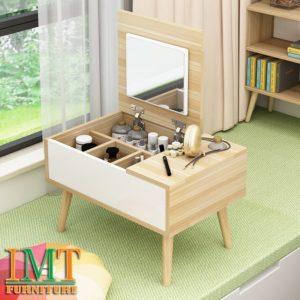 Bàn trang điểm kết hợp đựng mỹ phẩm màu gỗ mini IMT 399-2