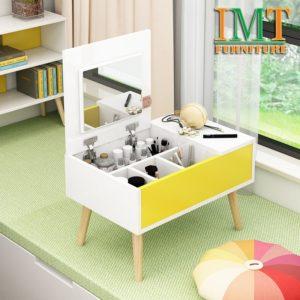 Bàn trang điểm kết hợp đựng mỹ phẩm màu vàng mini IMT 399-1