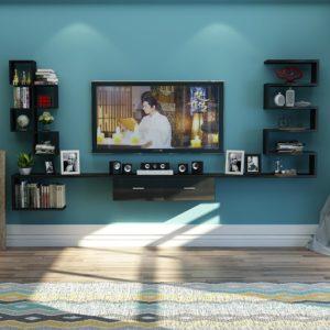 Kệ tivi treo tường trang trí ( màu đen ) IMT 121-7