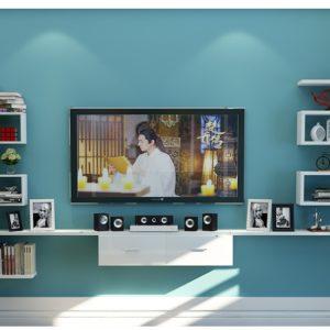 Kệ tivi treo tường trang trí ( màu trắng) IMT 121-9