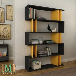 Kệ trang trí kết hợp kệ sách màu đen vàng IMT15-5