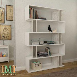 Kệ trang trí kết hợp kệ sách màu trắng IMT15-4