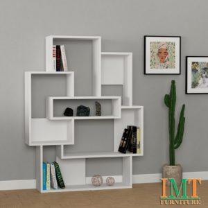 Kệ trang trí kết hợp kệ sách màu trắng IMT39-3