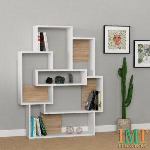 Kệ trang trí kết hợp kệ sách màu trắng vân gỗ IMT39-4