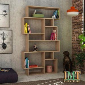 Kệ trang trí kết hợp kệ sách màu vân gỗ IMT12-5
