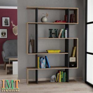 Kệ sách trang trí kết hợp kệ sách màu van gỗ IMT32-4