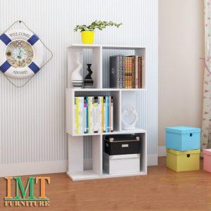 Kệ trang trí phòng khách nhỏ gọn màu trắng IMT 371