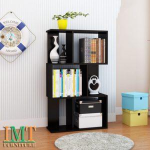 Kệ sách trang trí phòng khách nhỏ gọn màu đen IMT 372