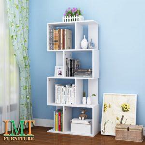 Kệ trang trí phòng khách nhỏ gọn màu trắng IMT 374