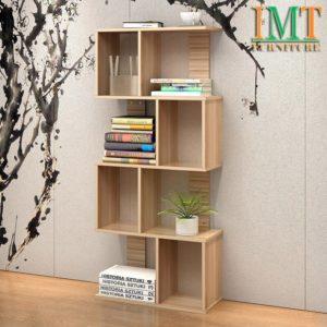 Kệ sách trang trí phòng khách nhỏ gọn màu vân gỗ IMT 375
