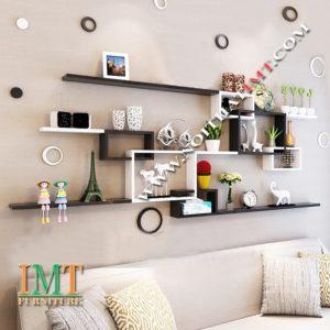 Kệ gỗ treo tường trang trí phòng khách phòng ngủ IMT633