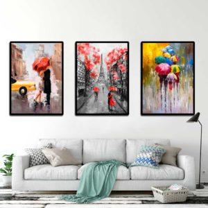Tranh canvas người che dù đi dưới mưa IMT-T1010