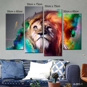Tranh động vật sư tử với phong cách châu Âu IMT-T1013