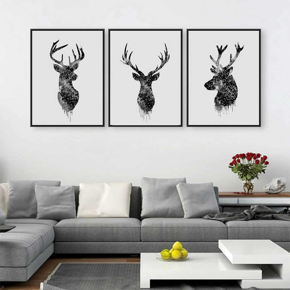 tranh canvas động vật hình đầu những chú nai IMT-T1012-1