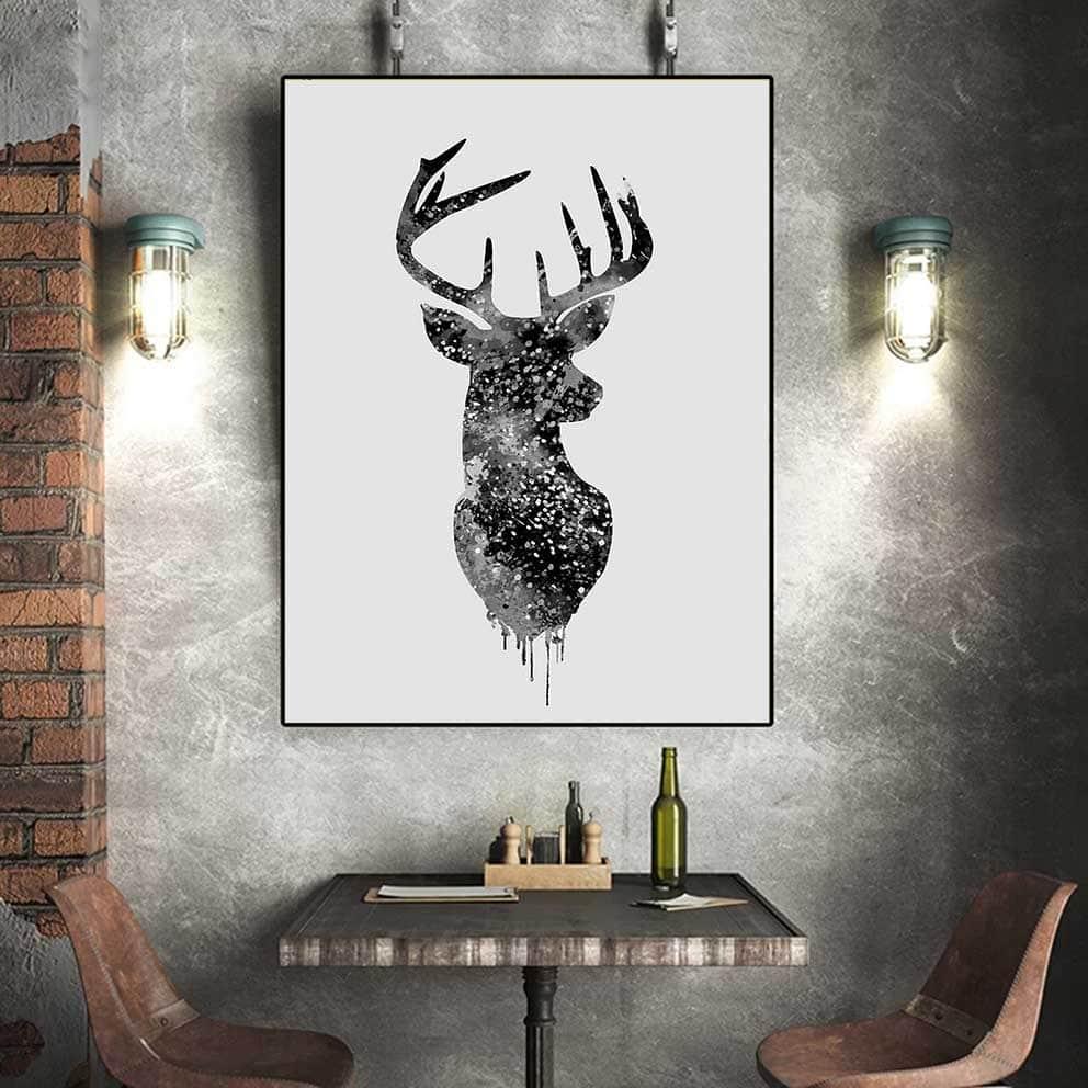 tranh canvas động vật hình đầu những chú nai IMT-T1012-3