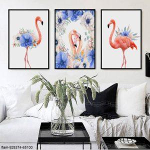 Tranh động vật chim hồng hạc và hoa IMT-T1017