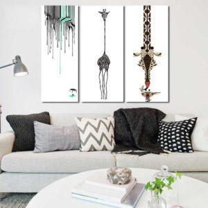 Tranh trừu tượng hươu cao cổ và ngựa vằn IMT-T1022