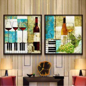 Tranh treo tường chai rượu và ly rượu IMT-T1008