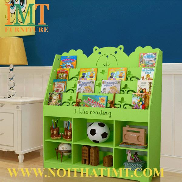 kệ sách kết hợp kệ đồ chơi trẻ em IMT